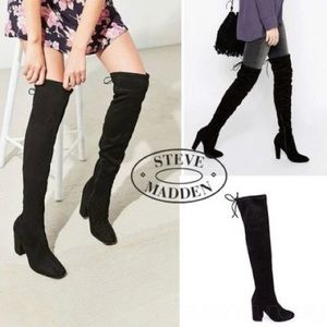 Black Stretchy Over The Knee Block Heel Boots